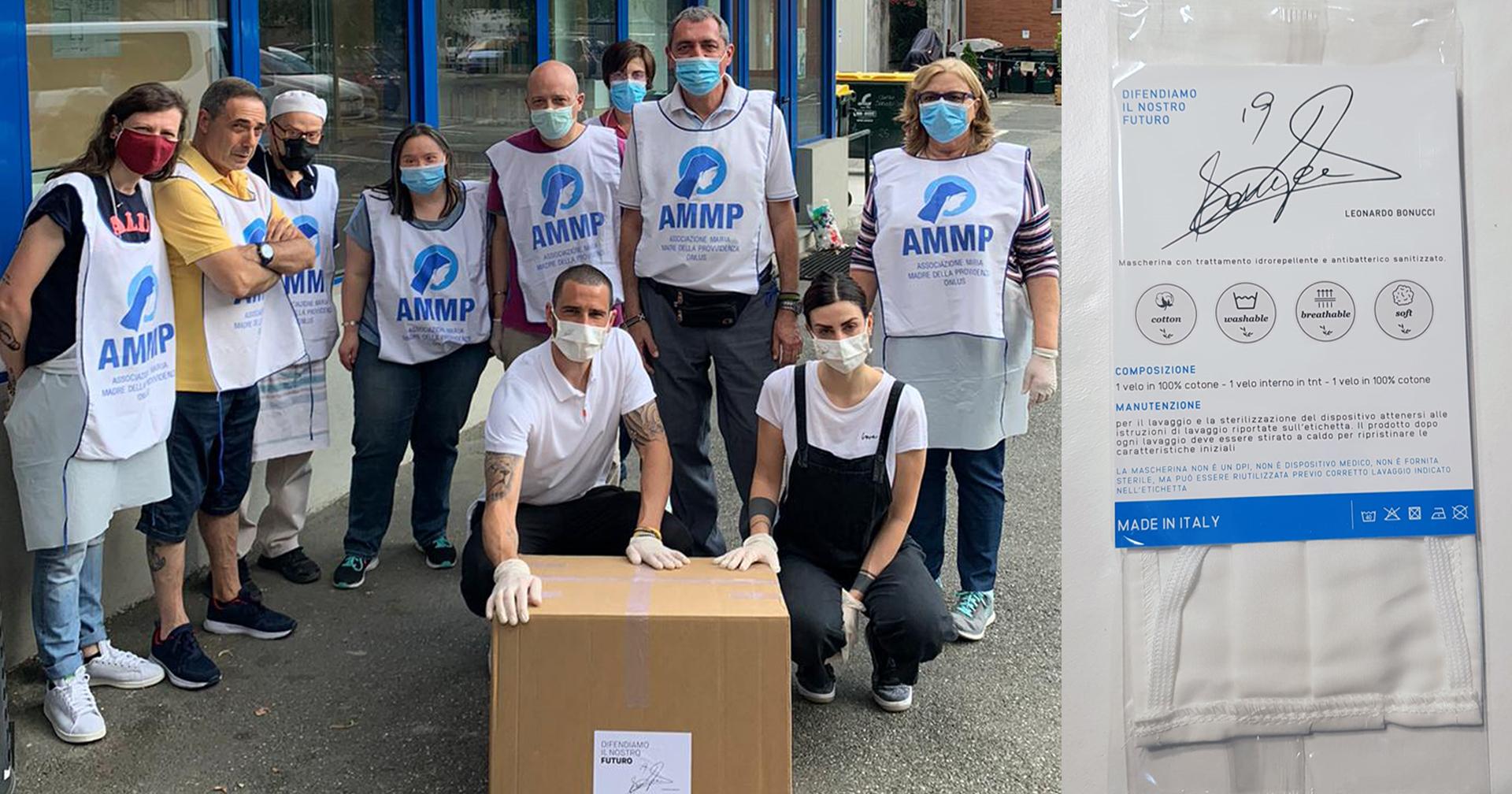Un grazie a Bonucci da AMMP per la consegna di 1000 mascherine
